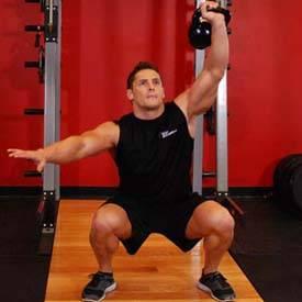 One-Arm Overhead Kettlebell Squats