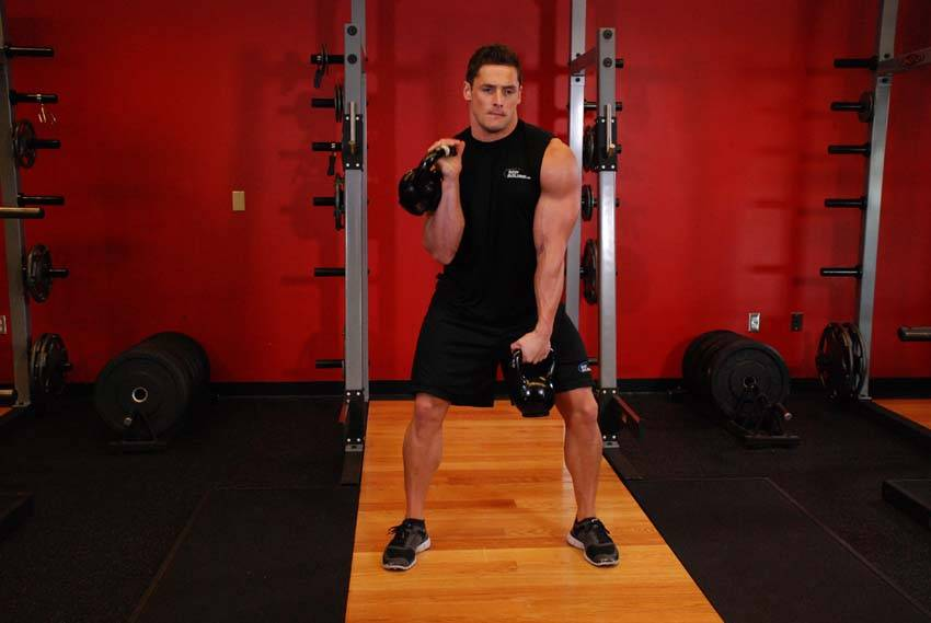 Double Kettlebell Alternating Hang Clean image