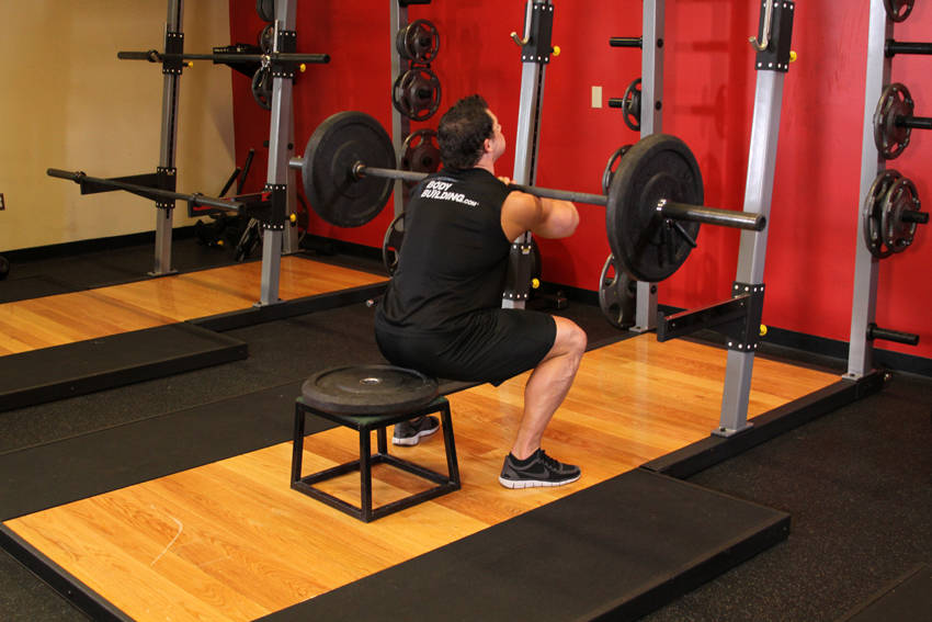 Front Barbell Squat To A Bench Exercise Guide and Video
