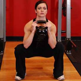 Kettlebell thruster with goblet hold