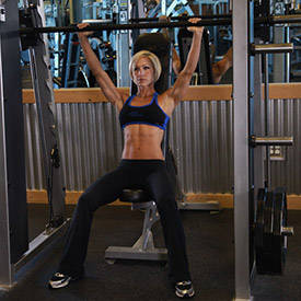 Smith machine seated shoulder press