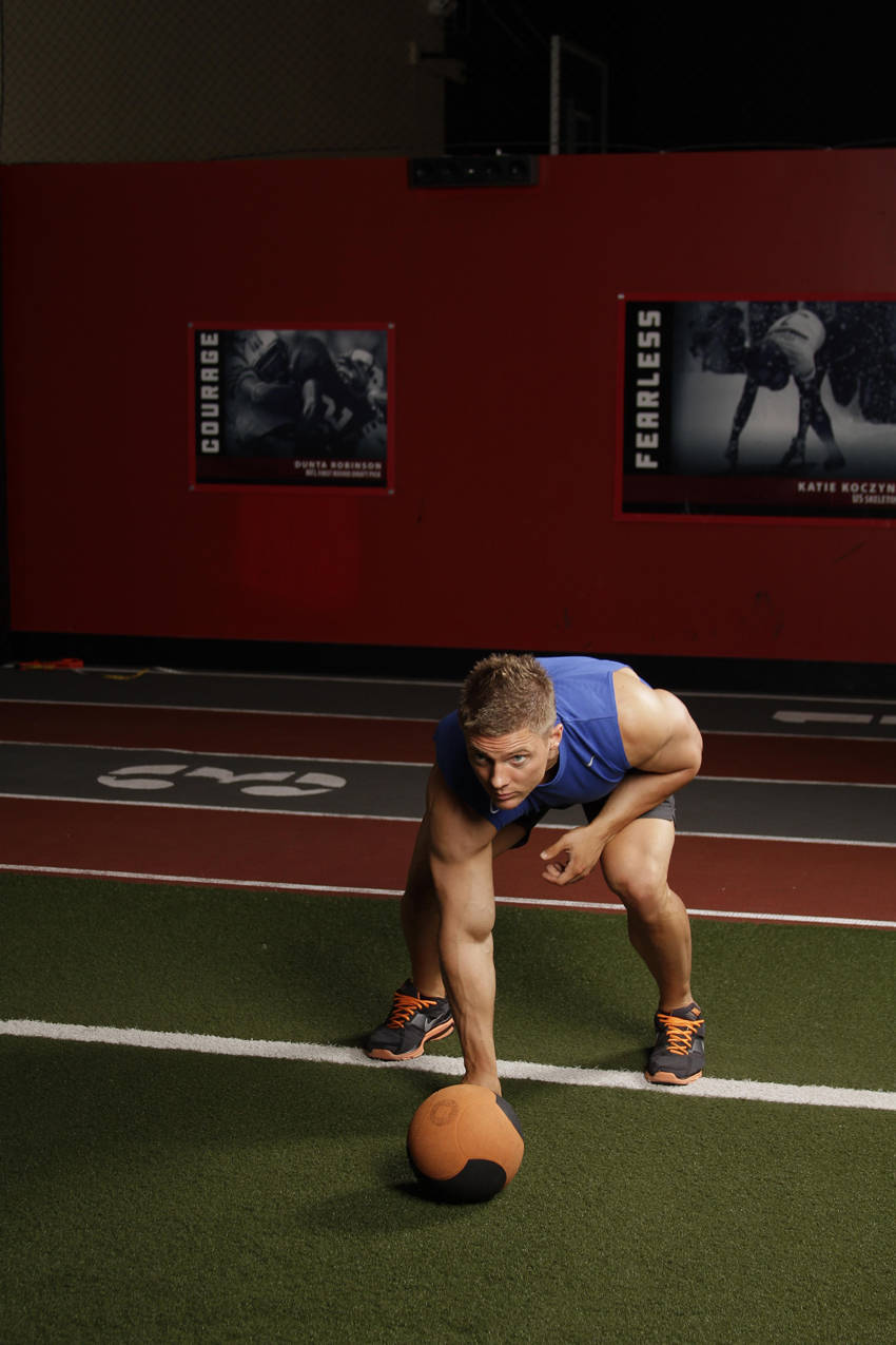 Chest Push from 3 point stance image