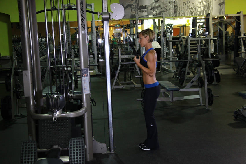 Cable Extensions Workout : Cable one arm tricep extension exercise guide and video