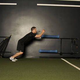 Broad jump to triple-clap push-up