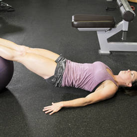 Swiss-ball glute raise