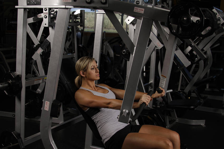 Leverage decline chest press exercise guide and video Leverage bench press
