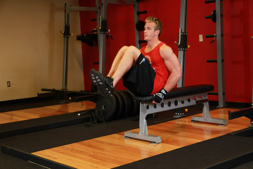 Seated Flat Bench Leg Pull-In image