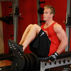 Seated Flat Bench Leg Pull-In