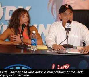 Carla and Jose broadcasting live from the 2005 Olympia in Las Vegas