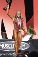 Jen winning the 2005 Ms. Olympia