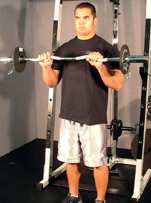 Grasp A Barbell With Palms Down Grip That Is About Shoulder Width Aprt Use Weight Approximately 60 75 Less Than Your Normal Level For