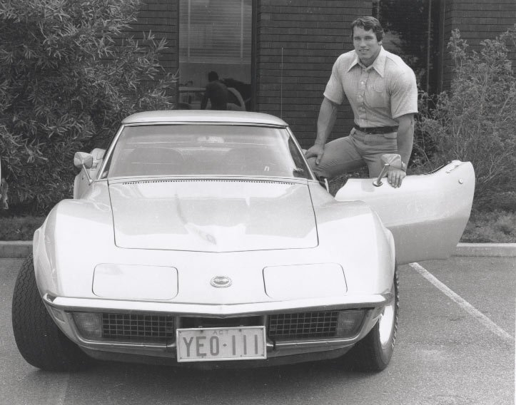 Arnold With Robert Nailon's Corvette.