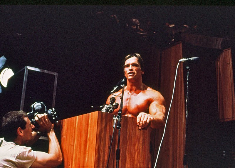 Arnold Went To The Microphone & Gave His Speech.