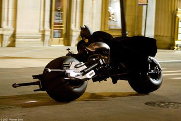 Batman Charges Into Action On His New Bat-Pod.