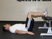 Shoulder Bridge: Feet on Bench