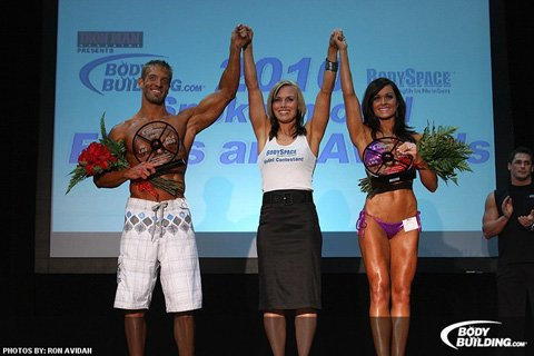 The Winners Of The 2010 BodySpace Spokesmodel Search Ben Booker And Jaquelyn Roberts.