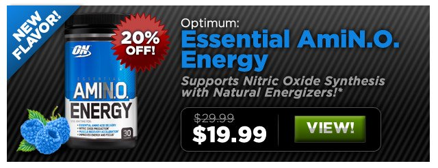 Optimum Essential AmiN.O. Energy. New Flavor - Blue Raspberry! Was: $29.99, Now: $19.99