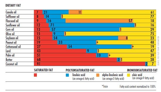 Fat percentages in common oils.