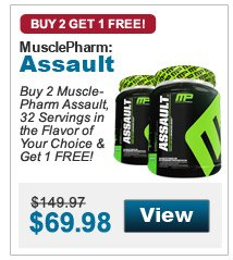 Buy 2 Muscle- Pharm Assault, 32 Servings in the Flavor of Your Choice & Get 1 FREE!
