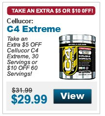 Take an  Extra $5 OFF Cellucor C4 Extreme, 30 Servings or $10 OFF 60 Servings!