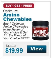 Buy 1 Optimum  Amino Chewables in the Flavor of Your choice & Get 1 in the Flavor of Your Choice FREE!