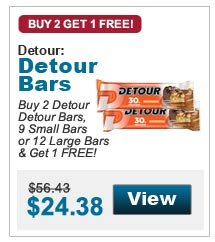 Buy 2 Detour Detour Bars, 9 Small Bars or 12 Large Bars & Get 1 FREE!