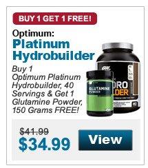 Buy 1  Optimum Platinum Hydrobuilder, 40 Servings & Get 1 Glutamine Powder, 150 Grams FREE!