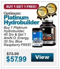 Buy 1 Platinum Hydrobuilder, 40 Srv & Get 1 AmiN.O. Energy, 30 Srv, Blue Raspberry FREE!