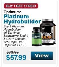 Buy 1 Platinum  Hydrobuilder, 40 Servings, Strawberry Shake & Get 1 Tribulus 625 Caps, 100 Capsules FREE!