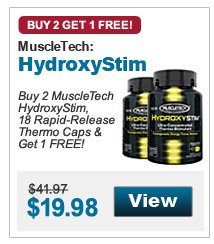 Buy 2 MuscleTech HydroxyStim, 18 Rapid-Release Thermo Caps & Get 1 FREE!