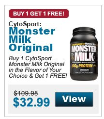 Buy 1 CytoSport Monster Milk Original in the Flavor of Your Choice & Get 1 FREE!