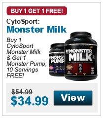 Buy 1  CytoSport Monster Milk & Get 1 Monster Pump, 10 Servings FREE!