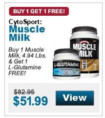Buy 1 Muscle Milk, 4.94 Lbs. & Get 1 L-Glutamine FREE!
