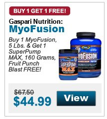 Buy 1 MyoFusion, 5 Lbs. & Get 1 SuperPump MAX, 160 Grams, Fruit Punch Blast FREE!