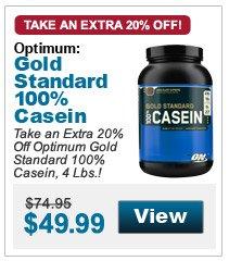 Take an Extra 20% Off Optimum Gold Standard 100% Casein, 4 Lbs.!