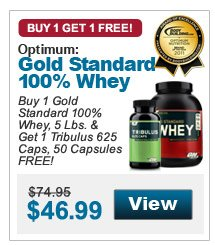 Buy 1 Gold Standard 100% Whey, 5 Lbs. & Get 1 Tribulus 625 Caps, 50 Capsules FREE!