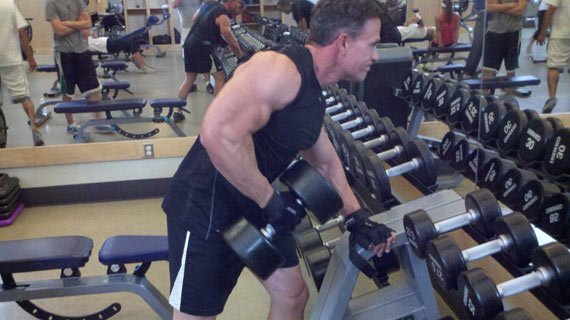 Easy to rule the dumbbell rack when your body fat stands at 12%.