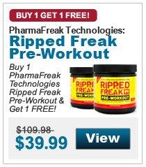 Buy 1  PharmaFreak Technologies Ripped Freak Pre-Workout & Get 1 FREE!