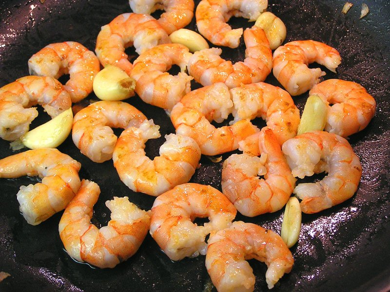 Choosing shrimp over red meat will get you the iron you need without overloading the calories.