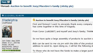 Forum Thread of the Year: Auction to benefit Joey/Placebro's family