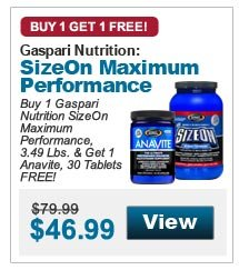 Buy 1 Gaspari Nutrition SizeOn Maximum Performance, 3.49 Lbs. & Get 1 Anavite, 30 Tablets FREE!