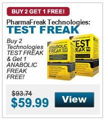 Buy 2  Technologies TEST FREAK & Get 1 ANABOLIC FREAK FREE!