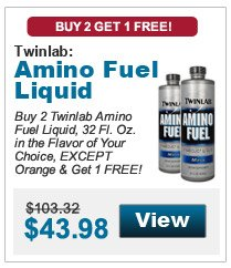 Buy 2 Twinlab Amino Fuel Liquid, 32 Fl. Oz. in the flavor of your choice, EXCEPT Orange & get 1 FREE!