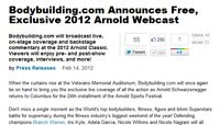 Bodybuilding.com Announces Free, Exclusive 2012 Arnold Webcast