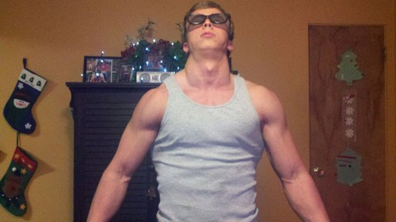 Austin needs shades just to check out his own physique.