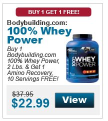 Buy 1 Bodybuilding.com 100% Whey Power, 2 Lbs. & get 1 Amino Recovery, 10 Servings, Fruit Punch FREE!