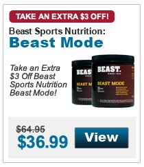 Take an extra $3 Off Beast Sports Nutrition Beast Mode!