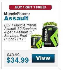 Buy 1 MusclePharm Assault, 32 Servings & get 1 Assault, 8 Servings, Fruit Punch FREE!