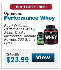 Buy 1 Optimum Performance Whey, 2 Lbs. & get 1 Micronized Creatine Powder, 300 Grams FREE!