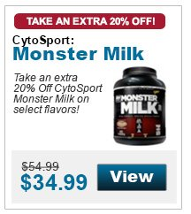 Take an extra 20% Off CytoSport Monster Milk on select flavors!